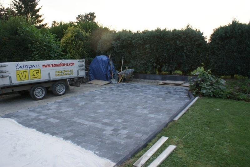 R alisation d 39 un terrassement avec pavages et rampe de garage antid rapant suite r novation - Carrelage garage antiderapant ...